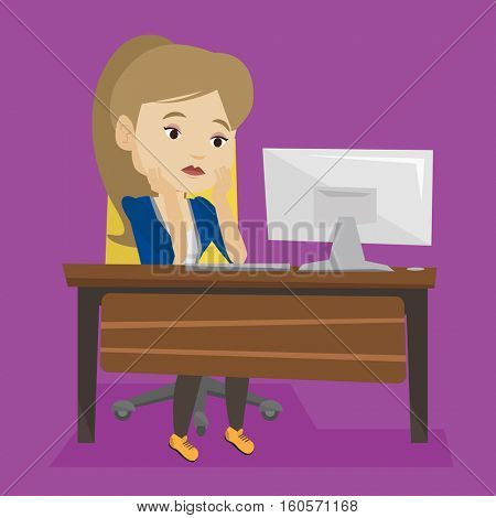 Exhausted caucasian employee sitting at workplace in front of computer in office. Overworked tired employee working with her head propped on hand. Vector flat design illustration. Square layout.