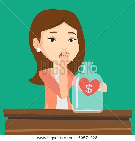 Young worried bankrupt business woman looking at empty money box. Desperate bankrupt sitting at the table with empty money box. Bankruptcy concept. Vector flat design illustration. Square layout.