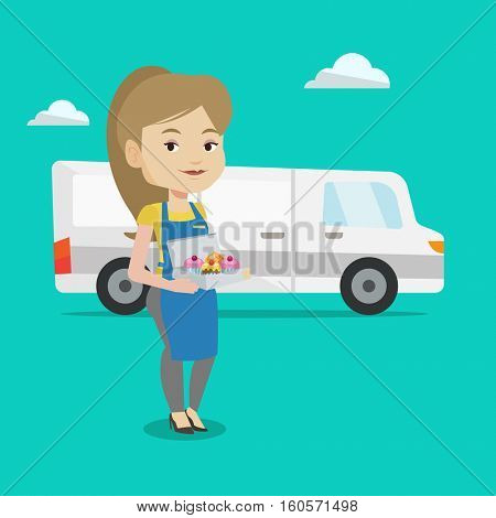 A friendly delivery woman holding a box of cakes. A baker delivering cakes. Young woman with cupcakes standing on the background of delivery truck. Vector flat design illustration. Square layout.