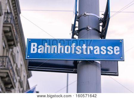 Bahnhofstrasse street sign in Zurich, Switzerland. outdoor