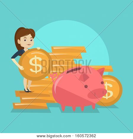 Smiling business woman putting money in a big pink piggy bank. Young caucasian business woman saving her money in piggy bank. Concept of saving money. Vector flat design illustration. Square layout.
