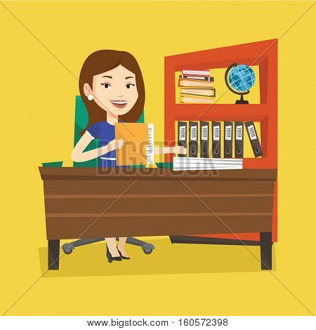 Caucasian female office worker working with documents. Female office worker sitting at the table with documents. Office worker inspecting documents. Vector flat design illustration. Square layout.