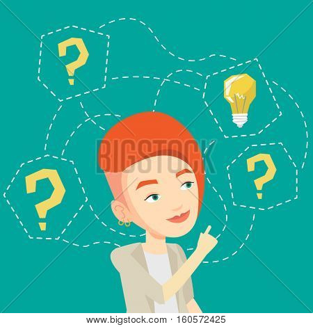 An excited caucasian business woman talking on mobile phone on the background of display of stock market quotes. Happy stockbroker at stock exchange. Vector flat design illustration. Square layout.