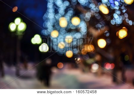 Abstract blurred lights picture city at night - defocused