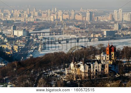 Top View of the Dnieper Park and Havana bridge in Kiev, Ukraine in winter day.