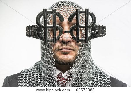 Cash Payday, man with medieval chain mail and dollar-shaped glasses