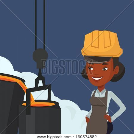 African steelworker in a hardhat at work in the foundry. Steelworker controlling iron smelting in the foundry. Industrial worker in steel making plant. Vector flat design illustration. Square layout.