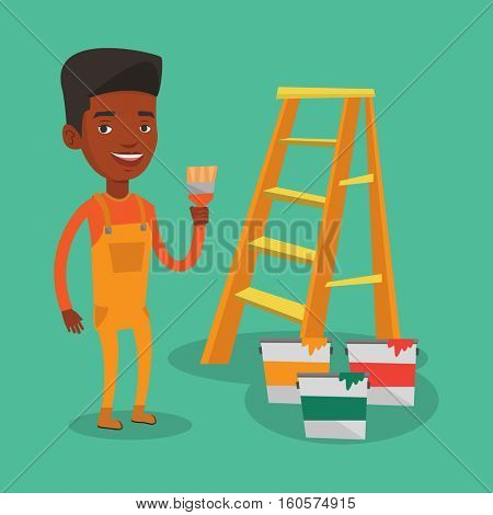 An african house painter holding a paintbrush. House painter with paintbrush in hand standing near step-ladder and paint cans. House renovation concept. Vector flat design illustration. Square layout.