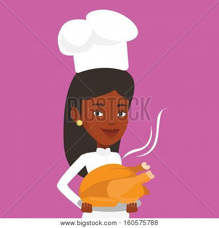An african chief cook in uniform and cap holding roasted chicken. Chief cook with whole baked chicken. Chief cook holding plate with just fried chicken. Vector flat design illustration. Square layout.