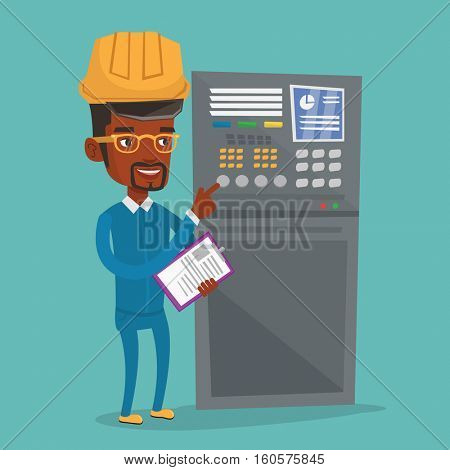 African-american man working on control panel. Worker pressing button at control panel. Engineer with clipboard standing in front of the control panel. Vector flat design illustration. Square layout.