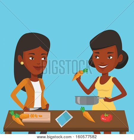 Women having fun cooking together healthy meal. Young smiling women preparing vegetable meal. African-american women cooking healthy vegetable meal. Vector flat design illustration. Square layout.