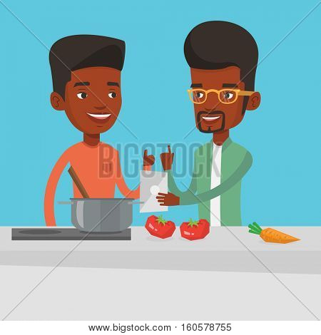 Young african-american men following recipe for healthy vegetable meal on digital tablet. Men cooking healthy meal. Men having fun cooking together. Vector flat design illustration. Square layout.