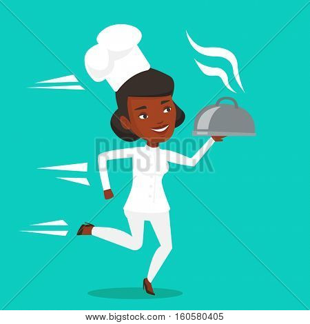 African-american chef cook in a cap and white uniform running. Young cheerful chef cook holding a cloche. Smiling chef cook fast running with a cloche. Vector flat design illustration. Square layout.