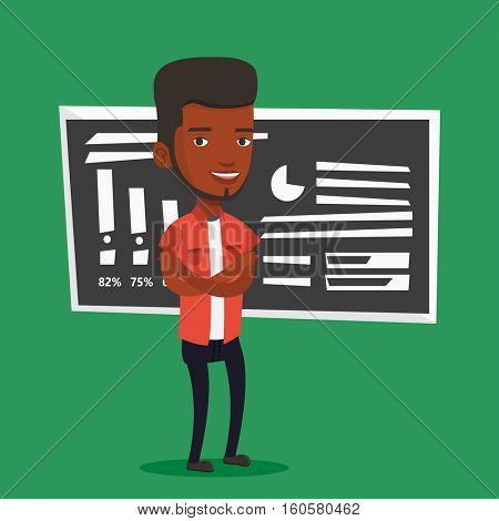 An african-american male teacher standing in classroom. Smiling male teacher standing in front of chalkboard. Young teacher standing with folded arms. Vector flat design illustration. Square layout.