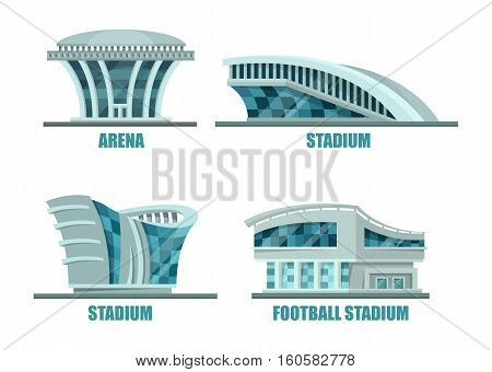Soccer or football sport stadium or field. Arena building or stadium architecture logo, soccer construction exterior facade or side view. For sport events or football tournament, athletic stadium logo