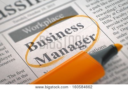 Business Manager. Newspaper with the Classified Advertisement of Hiring, Circled with a Orange Highlighter. Blurred Image. Selective focus. Hiring Concept. 3D.