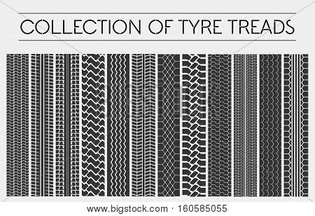 Wheel or tire, tyre treads or car tracks. Dirty ground detailed multiple stamps of protector, tracks or treads made by motorcycle or truck, car or automobile. Set of tire or tyre print