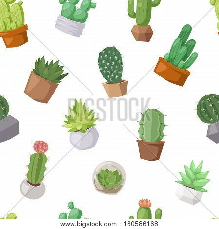 Cactus doodle seamless pattern. Exotic nature summer plant design and green desert print botanical flower, vector. Mexican cartoon blossom and cacti decorative wallpaper.