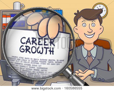 Officeman in Suit Looking at Camera and Holds Out a Concept on Paper Career Growth Concept through Lens. Closeup View. Multicolor Doodle Illustration.