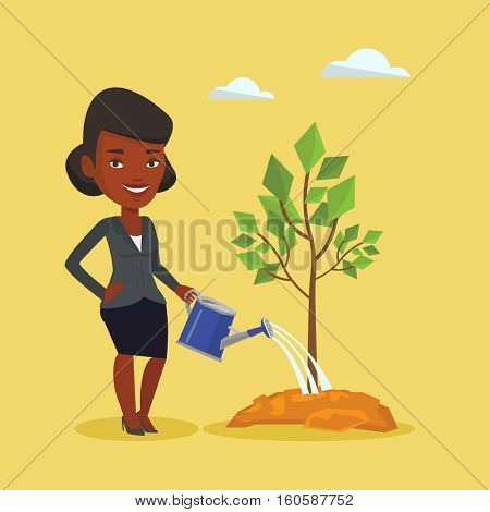 An african-american friendly woman watering tree. Smiling female gardener with watering can. Young woman gardening. Concept of environmental protection. Vector flat design illustration. Square layout.