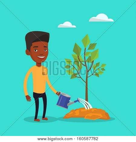 An african-american friendly man watering tree. Smiling male gardener with watering can. Young man gardening. Concept of environmental protection. Vector flat design illustration. Square layout.