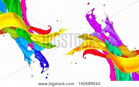 poster of Colorful Paint Splash Isolated on White Background. Abstract Colored Splashing. Multicolor Paint Spl