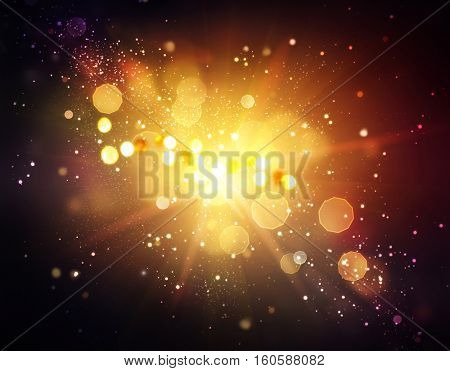 Gold Festive Christmas background. Golden Abstract Backdrop with Lights and Stars. Xmas Holiday Bokeh