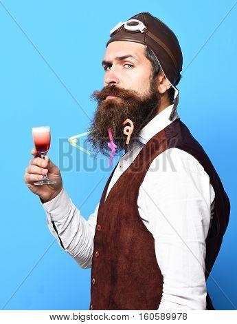 Funny Handsome Bearded Pilot