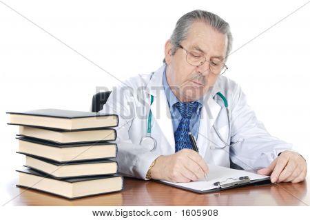 Seniors Doctor Writing