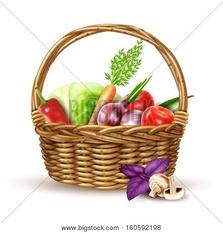 Round wicker basket with handle full with fresh farmers market vegetables realistic image shadow vector illustration