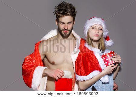 Serious Christmas Couple Of Santa