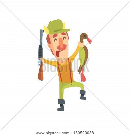 Happy Funny Childish Hunter Character With Moustache Holding Dead Duck Cartoon Vector Illustration. Man And His Hunting Hobby Comic Scene Flat Drawing.