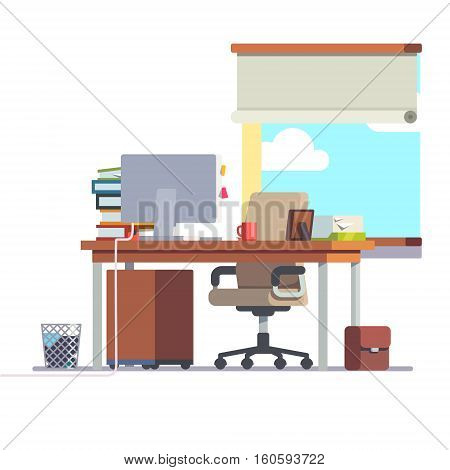 Workplace office desk with a computer, comfortable chair and a pedestal drawer. Flat style modern vector illustration.