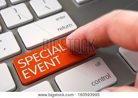 Close Up view of Male Hand Touching Orange Special Event Computer Key. 3D.