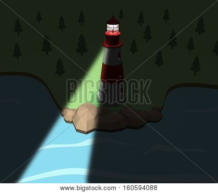 Lighthouse on the coast in the night. 3d illustration. cartoon