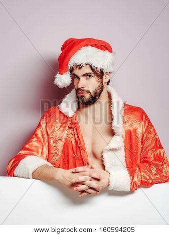 Handsome Serious Santa Man