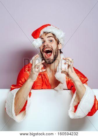 Handsome Surprised Santa Man