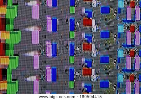 abstract colorful background texture. glitches distortion on the screen broadcast digital TV satellite channels