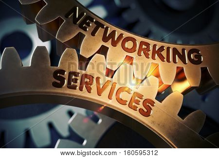 Networking Services on the Golden Cog Gears. Golden Metallic Cog Gears with Networking Services Concept. 3D Rendering.
