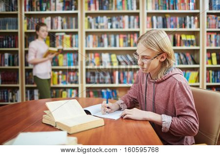 Doing assignment in library