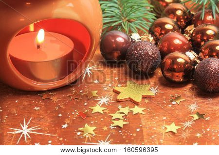 Christmas decoration - baubles and candle table ornaments
