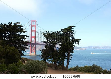 Golden gate bridge - view from south side Fort Point. San Francisco
