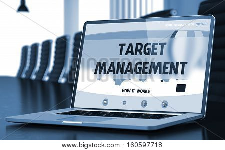 Target Management. Closeup Landing Page on Laptop Display. Modern Conference Hall Background. Toned Image. Selective Focus. 3D Rendering.