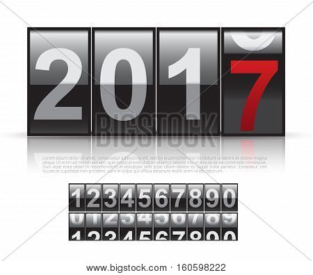 Concept of The New Year 2017.Close Up of The Digits of A Mechanical Counter