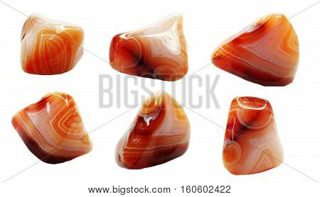 agate with chalcedony geological crystal set isolated