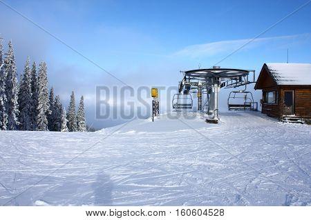 Ski lift in West Tatra mountains. White winter