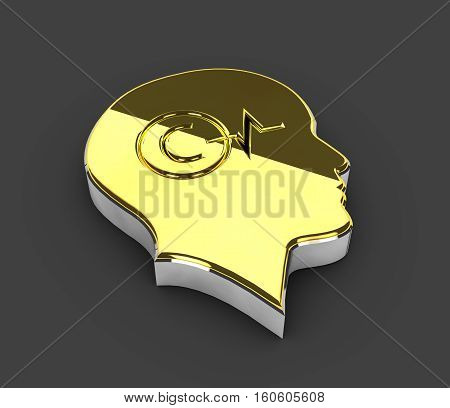 3d Illustration of gold Copyright symbol on gray background