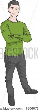 Young confident man standing. Handsome young man in casual outfit.