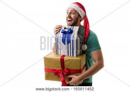 Handsome man holding a Christmas gift