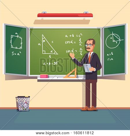 Mid age teacher with glasses and mustache giving a trigonometry lecture on a chalkboard. Flat style color modern vector illustration.